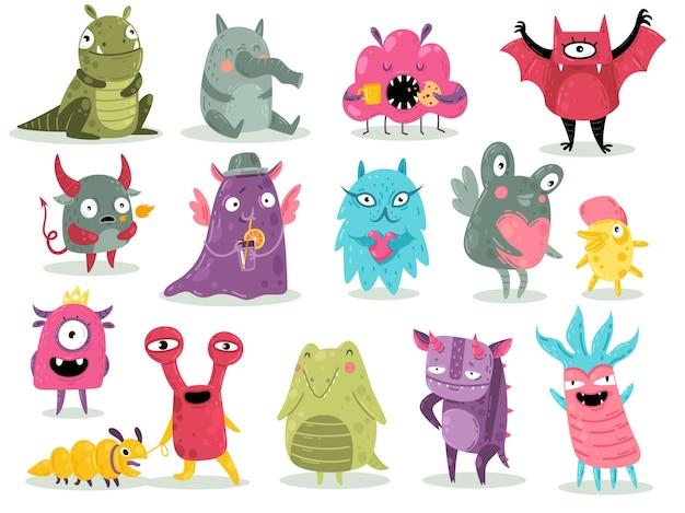 Tekenfilmmonsters. schattige goblins, kleurrijke gekke buitenaardse karakters, grappige komische gremlins, kleine heldere draken en duivelse spookachtige wezens. halloween enge speelgoedmascottes instellen vector platte geïsoleerde collectie