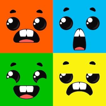 Tekenfilmmonsters. set van verschillende emoties op de gezichten van de personages. vector tekening leuk