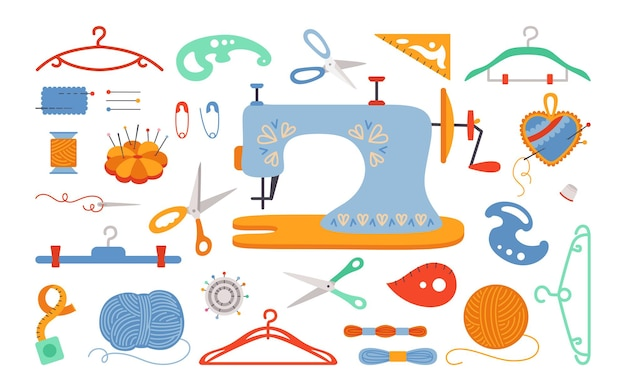 Tekenfilmreeks naaien, draad en schaar, garen, naaldstang, speldnaald. handwerkgereedschap voor naaien, naai-accessoires voor hobby. handwerksteek fancywork