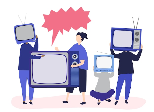Tekenillustratie van mensen met analoge tv-pictogrammen