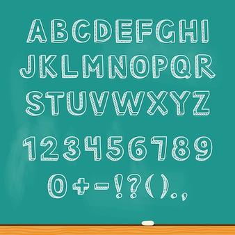 Tekening alfabet belettering op schoolbord
