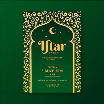 Tekening iftar uitnodigingssjabloon