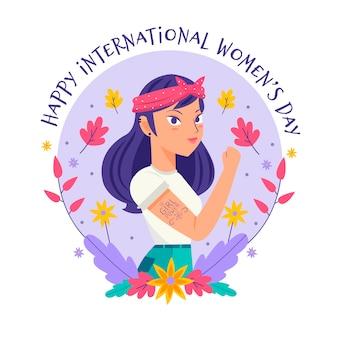 Tekening met de viering van de de daggebeurtenis van vrouwen
