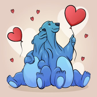 Tekening met dieren paar voor valentijnsdag