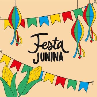Tekening met festa junina
