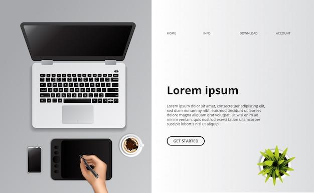 Tekening met pentablet bovenaanzicht met laptopcomputer en een kopje koffie