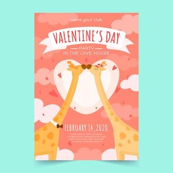 Tekening met valentijnsdag partij poster sjabloon