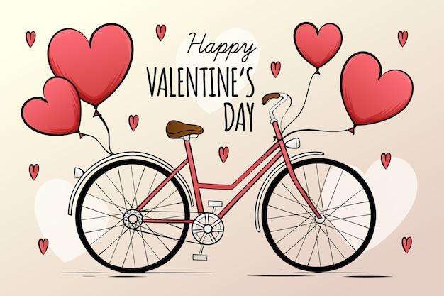 Tekening met valentijnsdag voor behang