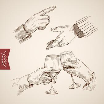 Tekening uit de vrije hand. glazen in de hand.