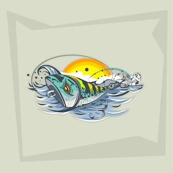 Tekening uit de vrije hand kunstaas op het water en een visser in een boot.