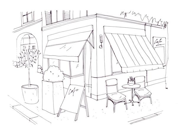 Tekening uit de vrije hand van europees terras of restaurant met tafel en stoelen die op straat naast het gebouw staan vectorillustratie getekend met zwarte contourlijnen op witte achtergrond.
