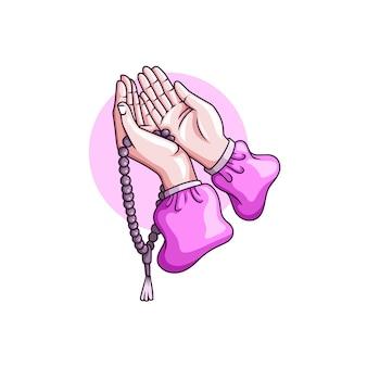 Tekening van biddende handen met bidparels voor islamitische ramadan kareem