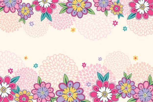 Tekening van bloemen op het ontwerp van het bordbehang