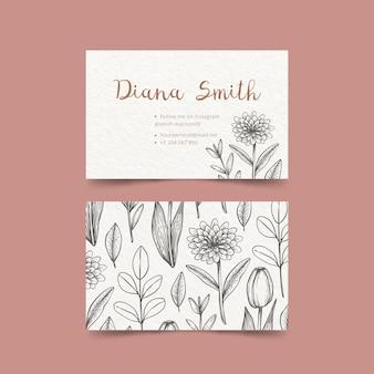 Tekening van bloemen visitekaartjesjabloon