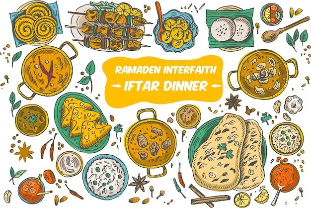 Tekening van bovenaanzicht iftar-diner op tafel