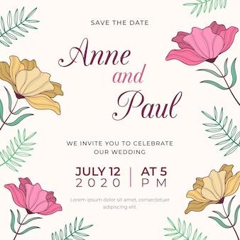 Tekening van bruiloft uitnodiging sjabloon