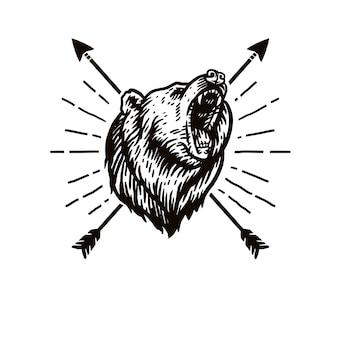 Tekening van brullende beer en pijl
