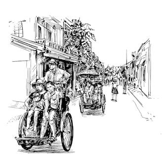 Tekening van de driewieler in vietnam hoi an