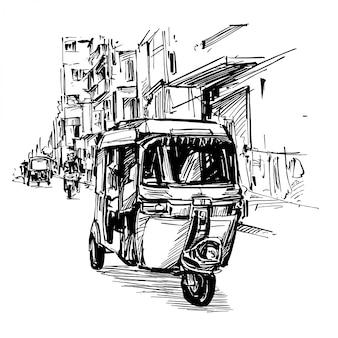 Tekening van de driewieler op straat in india