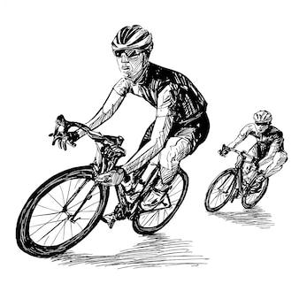 Tekening van de fietscompetitie toont het team van wielrenners