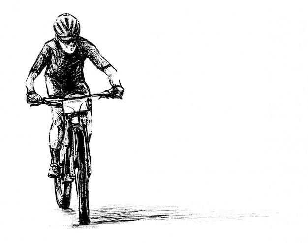 Tekening van de hand loting van de mountainbike wedstrijd