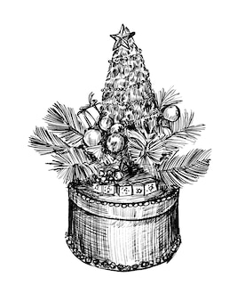 Tekening van de hand tekenen van de kerstcadeau doos