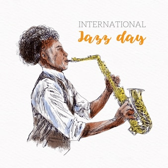 Tekening van de internationale jazzdag