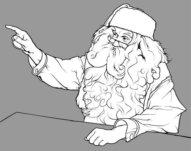 Tekening van de kerstman die zijn vinger laat zien