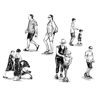 Tekening van de mensen lopen in de openbare ruimte