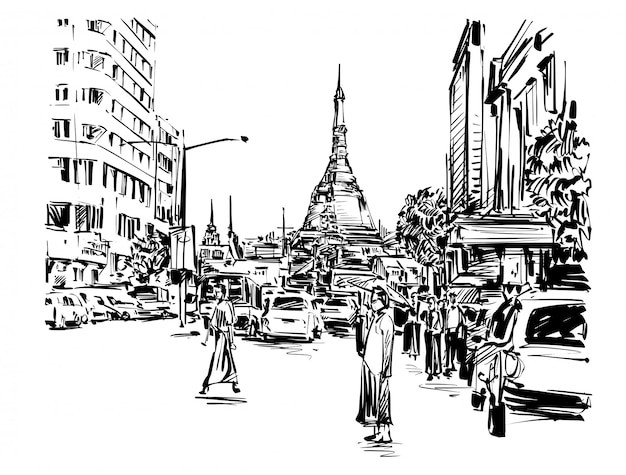 Tekening van de mensen lopen op straat rond pagode in yangon hand tekenen