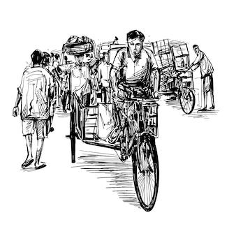 Tekening van de riksja op de lokale markt in india