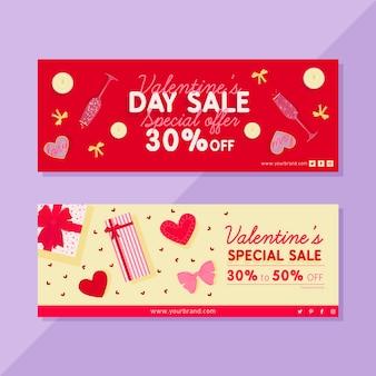 Tekening van de verkoopbanners van de valentijnskaartendag