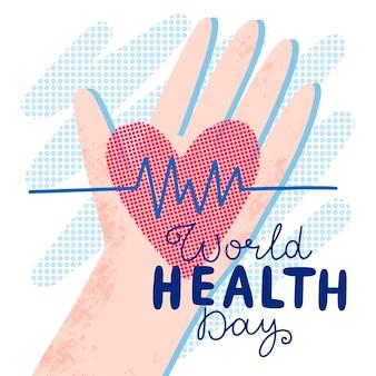 Tekening van de viering van de wereldgezondheidsdag