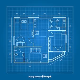 Tekening van een huis op blauwdruk