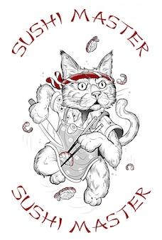 Tekening van een kat die sushi maakt