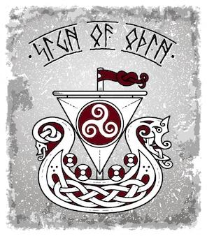 Tekening van een vikingschip met het teken van god odin