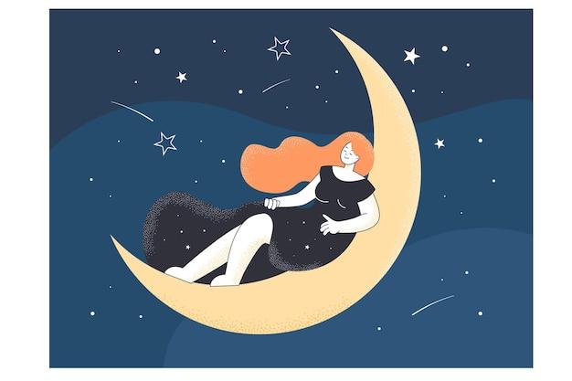 Tekening van een vrouwelijke persoon die 's nachts op de maan slaapt