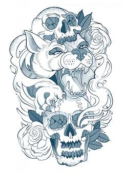 Tekening van een wolf met een menselijke schedel in zijn poten
