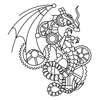 Tekening van een zwarte draak in de stijl van steampunk