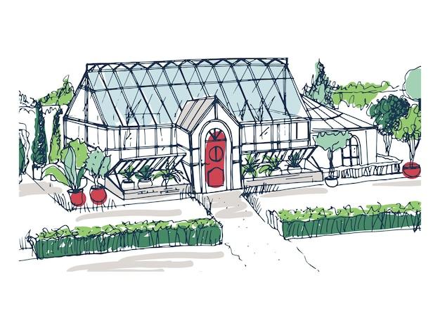 Tekening van elegant kasgebouw met rode toegangsdeur omgeven door struiken en bomen die in potten groeien