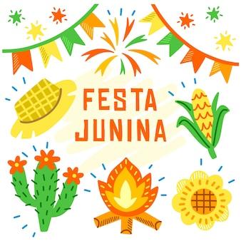 Tekening van festa junina-thema