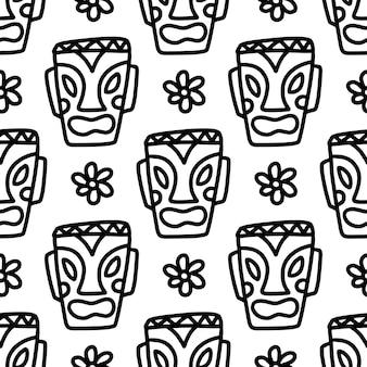 Tekening van hand getrokken hawaii tiki-masker met pictogrammen en ontwerpelementen