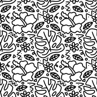 Tekening van handgetekende tuin met pictogrammen en ontwerpelementen