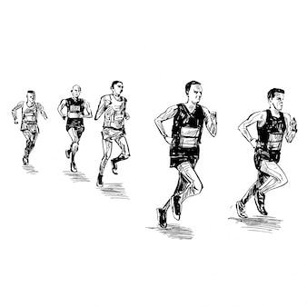 Tekening van hardloopwedstrijd