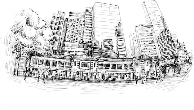 Tekening van het gebouw in hong kong met de hand tekenen