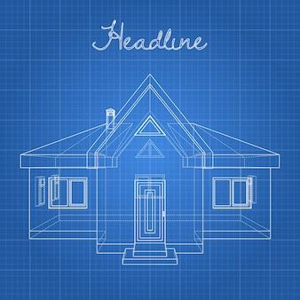 Tekening van het huis op een blauwe achtergrond.