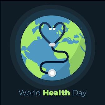 Tekening van het ontwerp van de wereldgezondheidsdag