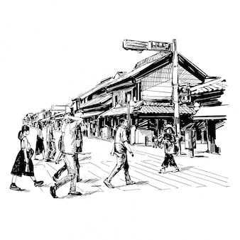 Tekening van het stadsbeeld van japan toont de oude stad in kyoto