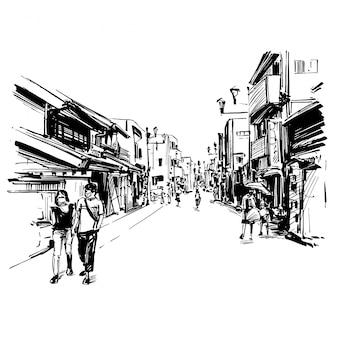 Tekening van het stadsbeeld van japan toont de stijl van de oude stad in kyoto