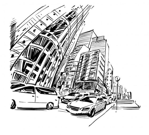 Tekening van het verkeer en gebouw in hong kong met de hand tekenen